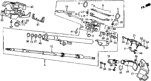 1988 accord LXI 3 DOOR 4AT STEERING COLUMN diagram