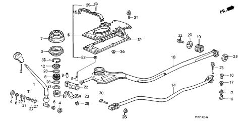1987 accord LXI 3 DOOR 5MT SHIFT LEVER diagram