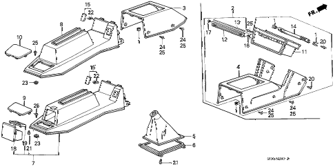 1986 accord DX 3 DOOR 5MT CONSOLE (1) diagram