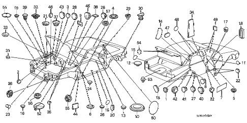 1987 accord DX 3 DOOR 5MT GROMMET - PLUG diagram