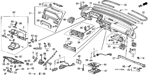 1988 accord LX 4 DOOR 5MT INSTRUMENT PANEL diagram
