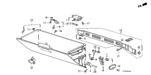 1989 accord DX 4 DOOR 5MT GLOVE BOX COMPONENTS diagram