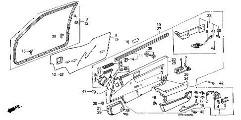 1989 accord DX 3 DOOR 4AT FRONT DOOR LINING (3D) 3DR diagram