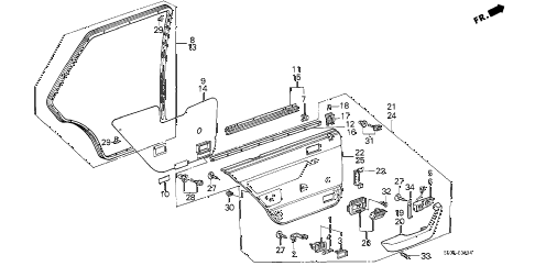 1987 accord LX 4 DOOR 4AT REAR DOOR LINING (4D) 4DR diagram