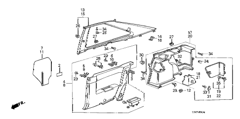 1989 accord LXI 3 DOOR 5MT SIDE LINING (3D) 3DR diagram