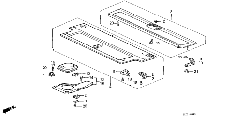 1989 accord DX 3 DOOR 5MT REAR SHELF (3D) 3DR diagram