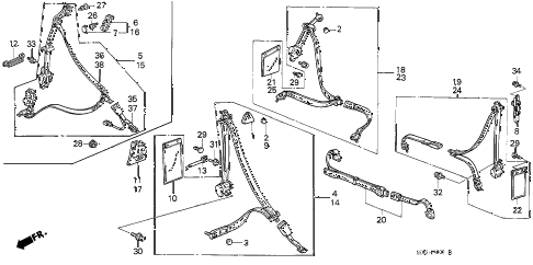 1989 accord DX 3 DOOR 4AT SEAT BELTS diagram