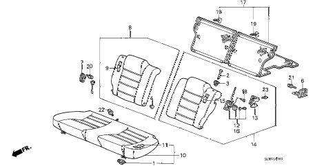 1986 accord LXI 3 DOOR 4AT REAR SEAT (3D) 3DR diagram