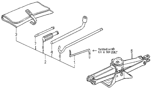 1989 accord DX 3 DOOR 4AT TOOLS - JACK diagram