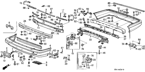 1989 accord LXI 3 DOOR 5MT BUMPER diagram