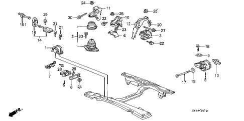 1986 accord DX 3 DOOR 5MT ENGINE MOUNT diagram
