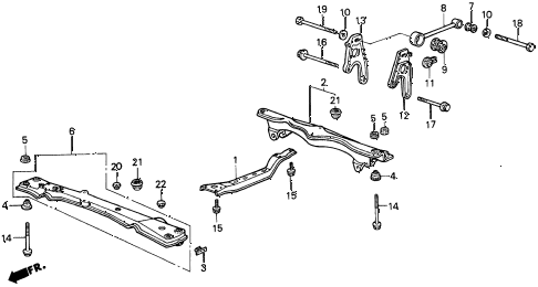 1989 accord DX 4 DOOR 5MT TORQUE ROD - FRONT BEAM diagram