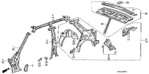 1986 accord DX 4 DOOR 5MT INNER PANEL (4D) 4DR diagram
