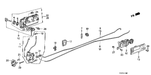 1986 accord DX 3 DOOR 4AT DOOR LOCKS (3D) 3DR diagram