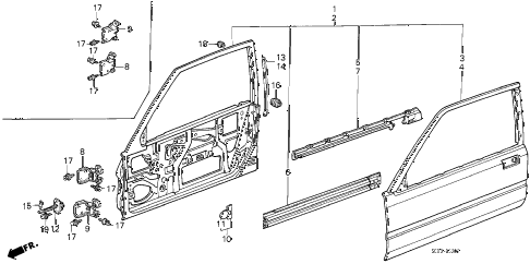 1986 accord DX 3 DOOR 4AT DOOR PANELS (3D) 3DR diagram