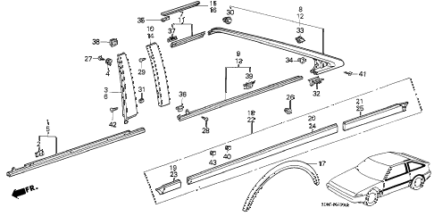 1987 accord DX 3 DOOR 5MT SIDE PROTECTOR (3D) 3DR diagram