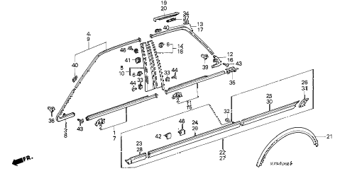 1988 accord LX 4 DOOR 4AT SIDE PROTECTOR (4D) 4DR diagram