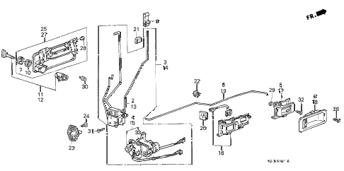 1988 accord DX 4 DOOR 5MT FRONT DOOR LOCKS (4D) 4DR diagram