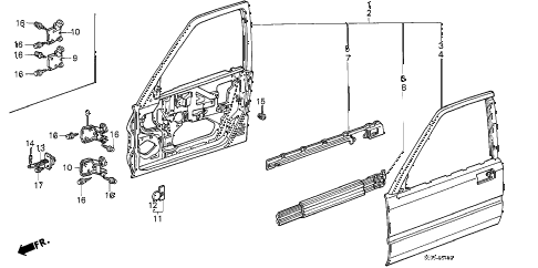 1986 accord LXI 4 DOOR 4AT FRONT DOOR PANELS (4D) 4DR diagram