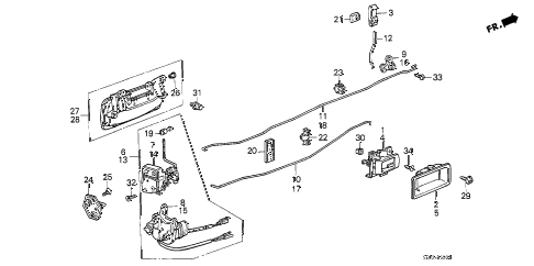 1989 accord DX 4 DOOR 5MT REAR DOOR LOCKS (4D) 4DR diagram