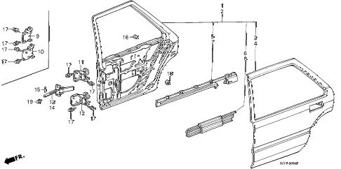 1988 accord LX 4 DOOR 4AT REAR DOOR PANELS (4D) 4DR diagram