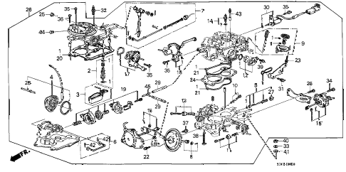 1986 accord DX 4 DOOR 4AT CARBURETOR diagram