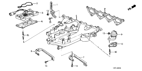 1988 accord DX 4 DOOR 4AT INTAKE MANIFOLD (CARBURETOR) diagram