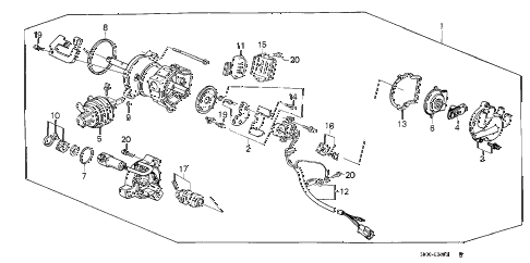 1987 accord LXI 3 DOOR 5MT DISTRIBUTOR (PGM-FI) (TEC) diagram