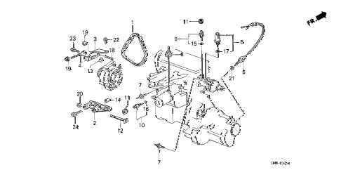 1987 accord LXI 3 DOOR 5MT ALTERNATOR BRACKET diagram