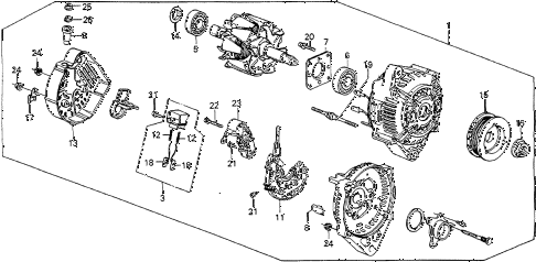 1988 accord LX 4 DOOR 4AT ALTERNATOR (DENSO) diagram