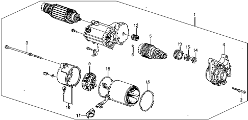 1987 accord DX 3 DOOR 5MT STARTER MOTOR (DENSO) diagram