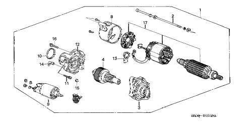 1988 accord DX 4 DOOR 5MT STARTER MOTOR (MITSUBA) diagram