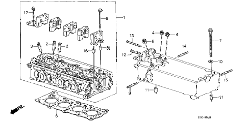 1988 accord LX 4 DOOR 5MT CYLINDER HEAD diagram