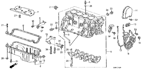 1988 accord DX 4 DOOR 4AT CYLINDER BLOCK - OIL PAN diagram