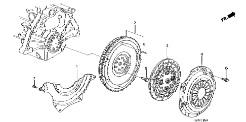 1986 accord LXI 3 DOOR 5MT CLUTCH - FLYWHEEL diagram