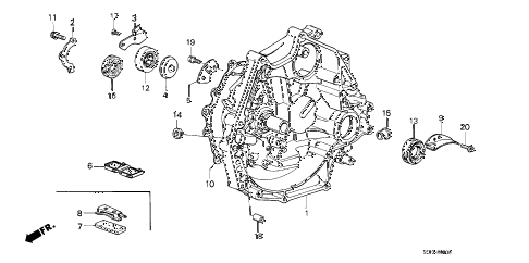 1986 accord DX 3 DOOR 5MT MT CLUTCH HOUSING diagram