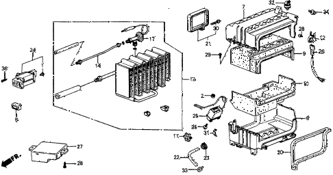 1987 accord DX 4 DOOR 5MT A/C COOLING UNIT diagram