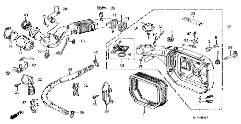 1990 prelude 2.0S 2 DOOR 5MT AIR CLEANER (S) diagram