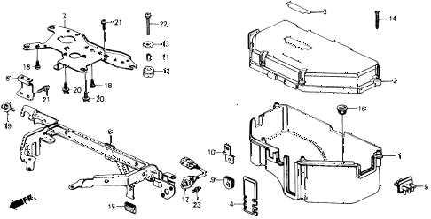 1988 prelude 2.0S 2 DOOR 4AT CONTROL BOX COVER (S) diagram