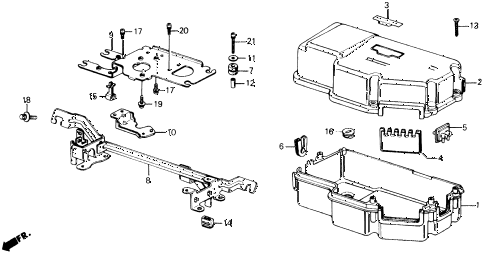 1990 prelude 2.05SI 2 DOOR 4AT CONTROL BOX COVER (SI) diagram