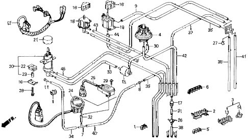 1991 prelude 2.05SI(4WS) 2 DOOR 4AT CONTROL BOX TUBING (SI) diagram