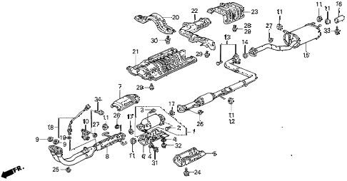 1990 prelude 2.0SI 2 DOOR 5MT EXHAUST SYSTEM diagram