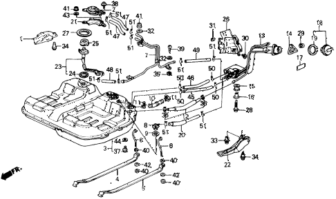 1990 prelude 2.0S 2 DOOR 5MT FUEL TANK diagram