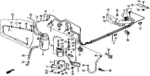 1991 prelude 2.05SI(ABS) 2 DOOR 4AT FUEL PIPE (SI) diagram