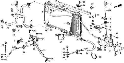 1991 prelude 2.05SI(4WS) 2 DOOR 4AT RADIATOR HOSE diagram
