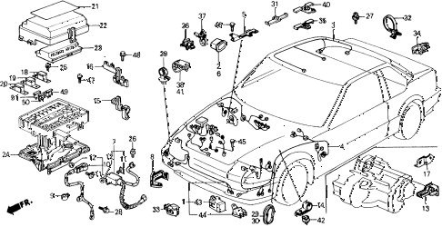 1990 prelude 2.0SI 2 DOOR 4AT CABIN WIRE HARNESS diagram
