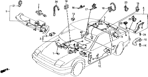1990 prelude 2.05SI 2 DOOR 4AT DASHBOARD WIRE HARNESS diagram