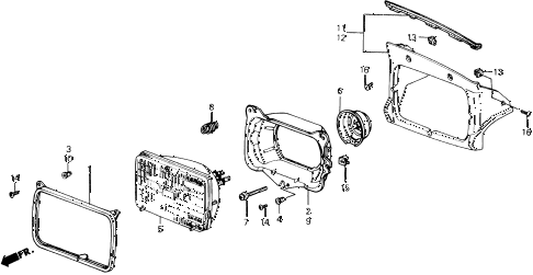 1991 prelude 2.05SI 2 DOOR 5MT HEADLIGHT diagram