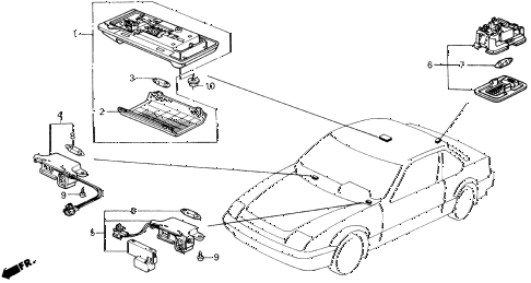 1990 prelude 2.0S 2 DOOR 5MT INTERIOR LIGHT diagram