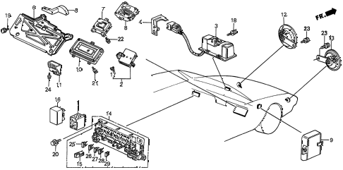 1991 prelude 2.05SI(ABS) 2 DOOR 4AT CONTROLLER - FUSE BOX - HORN diagram